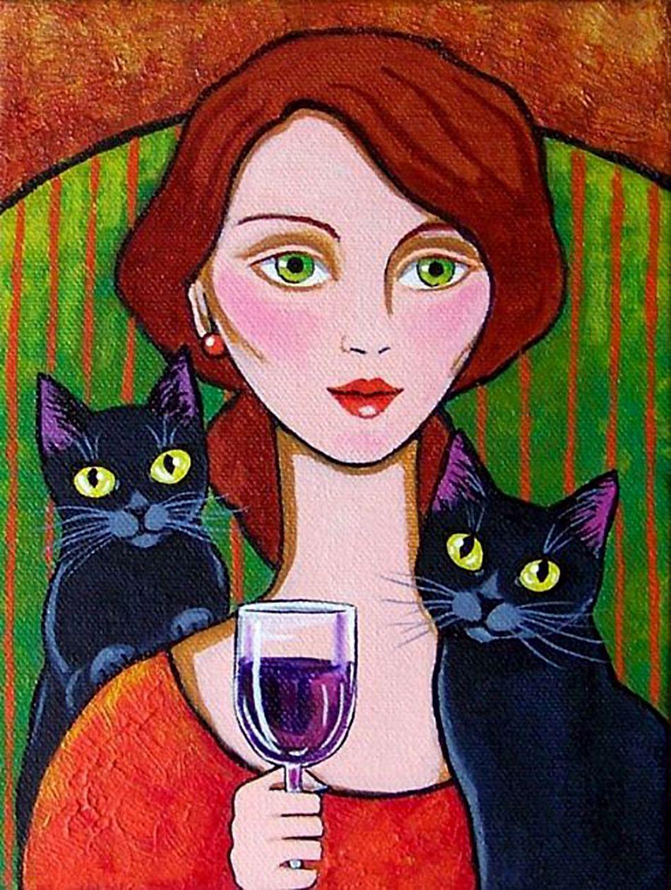 Woman Black Cats And Wine Par Lisa Nelson Cat Art Illustration Cat Painting Cat Art