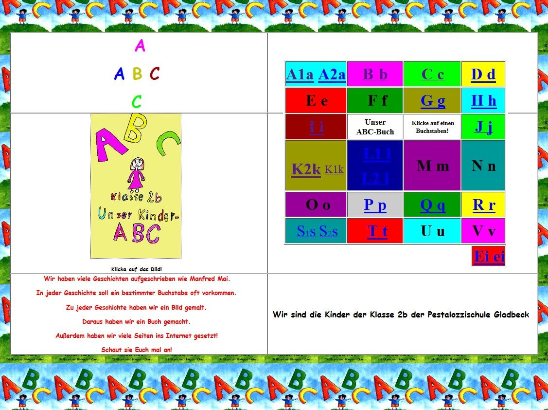 Schüler schreiben Geschichten zum ABC - Klicke auf das Bild und dann auf einen Buchstaben.