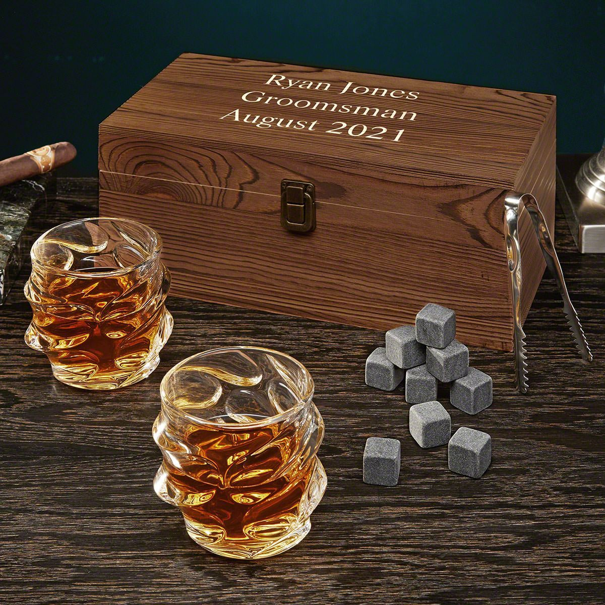Oakhill Personalized Whiskey Box Set with Sculpted Glasses