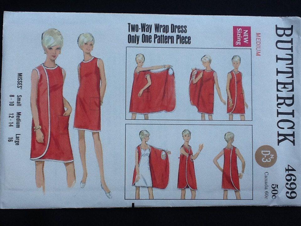 Butterick pattern 4699. Vintage uncut 1967 misses\' two way wrap ...