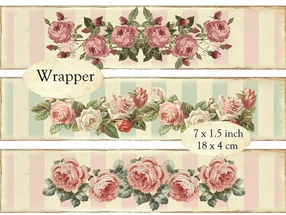 Printable Soap Wrapper Shabby Chic Labels Instant Download Digital Collage Sheet E103 Packaging Wrapping Roses Strips Etichette