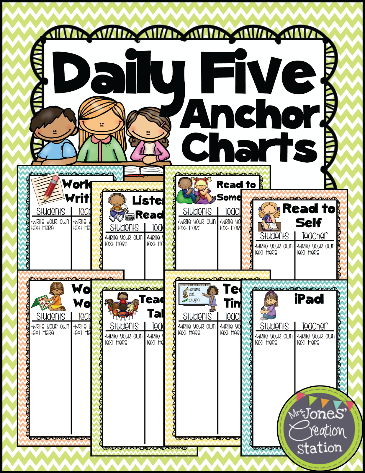 I Know A Lot Of You Have Used My Daily 5 Anchor Charts Freebie On Tpt And Wanted To Create New That Go With Chevron Collection