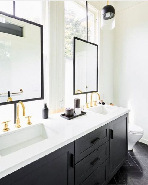 Photo of Bathroom mirror in front of windows #Bathroom furnishings #Bathroom #Furniture #Mixes …