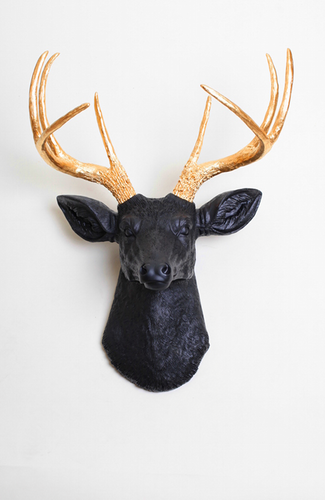 The Alexandr, Black & Gold Stag Deer Head | Fake Taxidermy ...