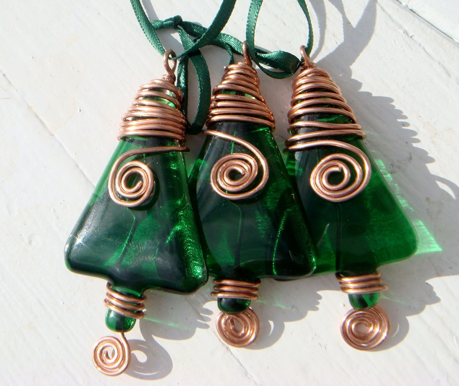 Christmas decorations Set of three green fused glass xmas tree decorations with copper wire detail