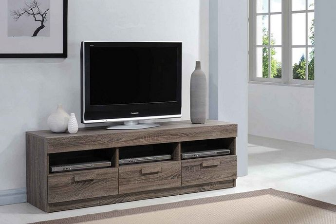 ACM Alvin collection rustic oak finish wood TV stand with multiple open areas for storage and drawers