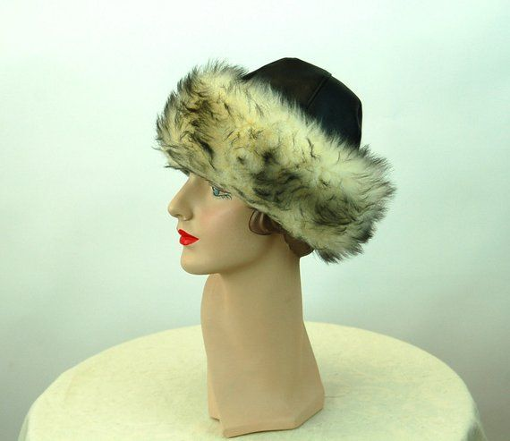 1960s winter hat fur hat black vinyl and faux fur Betmar hat in 2018 ... 329e8e65d4a