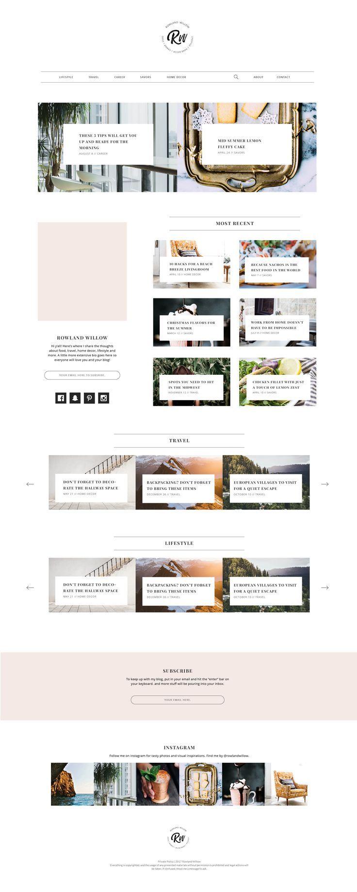 Instagram-@ouistereater Blog layout website design template. #logo ...