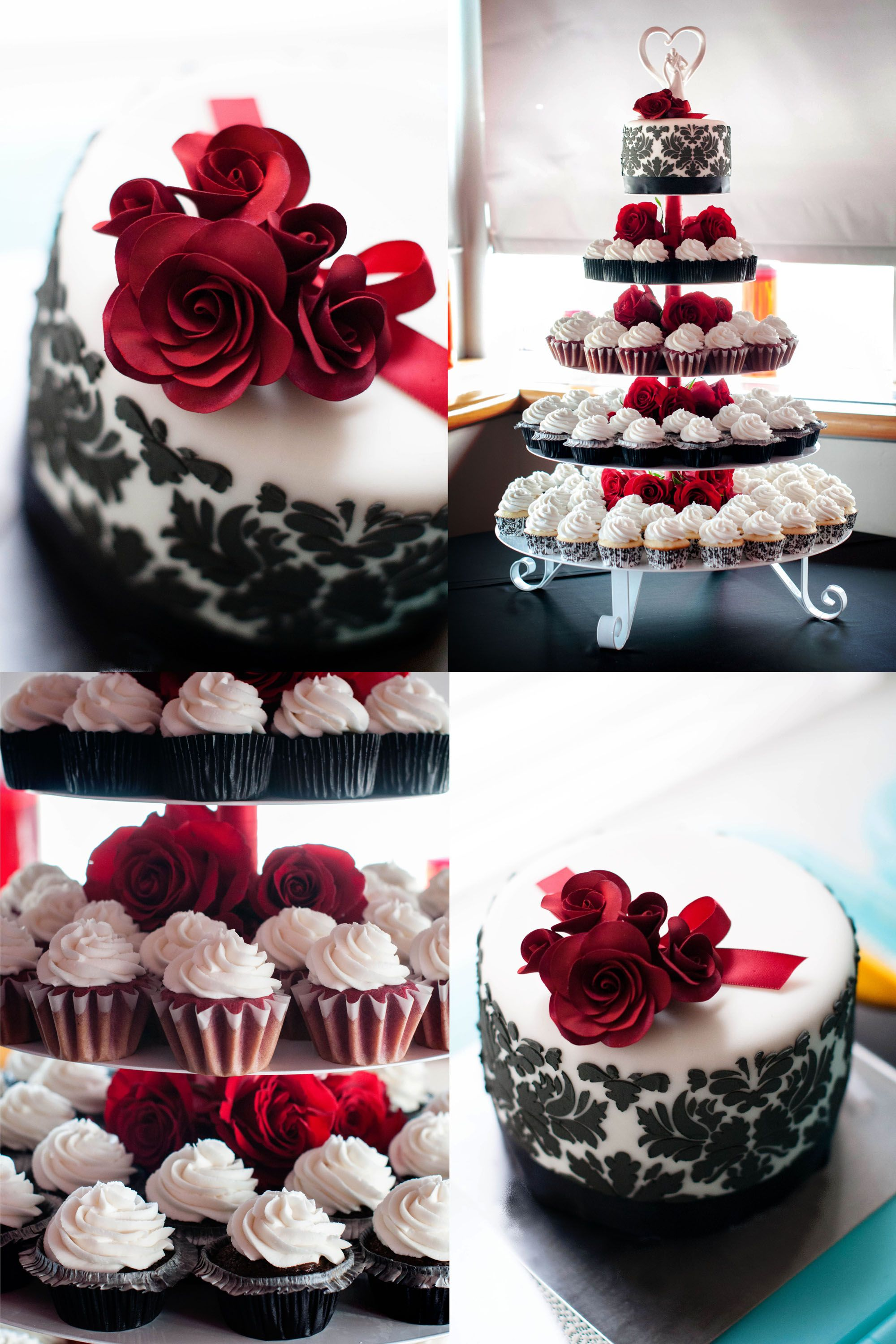 red and white wedding cake cupcakes black damask and roses wedding cake and cupcakes 19097