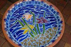 Fish Birdbath (shallow) (Debbie's Mosaics) Tags: birdbath mosaic