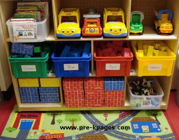 Easy Classroom Decor Ideas ~ Block center in preschool books area and