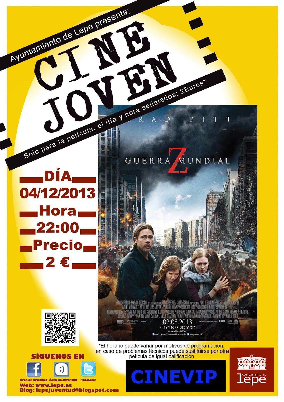 Cine Joven presenta: Guerra Mundial Z, el miércoles, 4 de diciembre, a las 22h en Cinevip Lepe