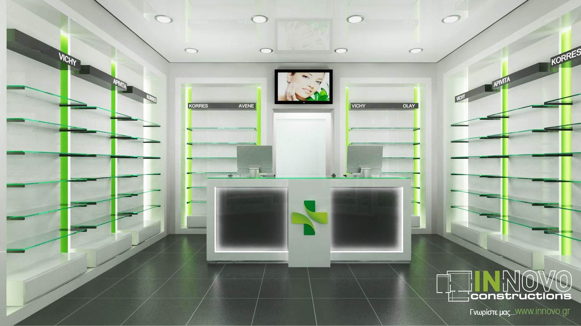 INNOVO Pharmacy Construction in Acharne Store design