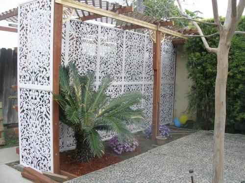 Acurio latticeworks 1 4 in x 32 in x 48 in white ginger for Porch screen panels home depot