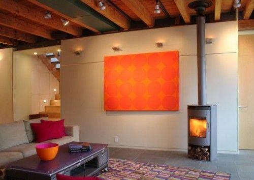 orange paint color living room with modern ceiling design | /orange painting slides to reveal tv!/ /ceiling lights ...