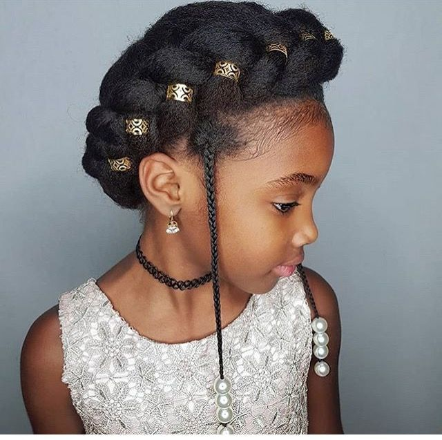 Crown Braid With Accessories On Natural Hair Natural Hair Styles Kids Hairstyles For Wedding Girls Natural Hairstyles