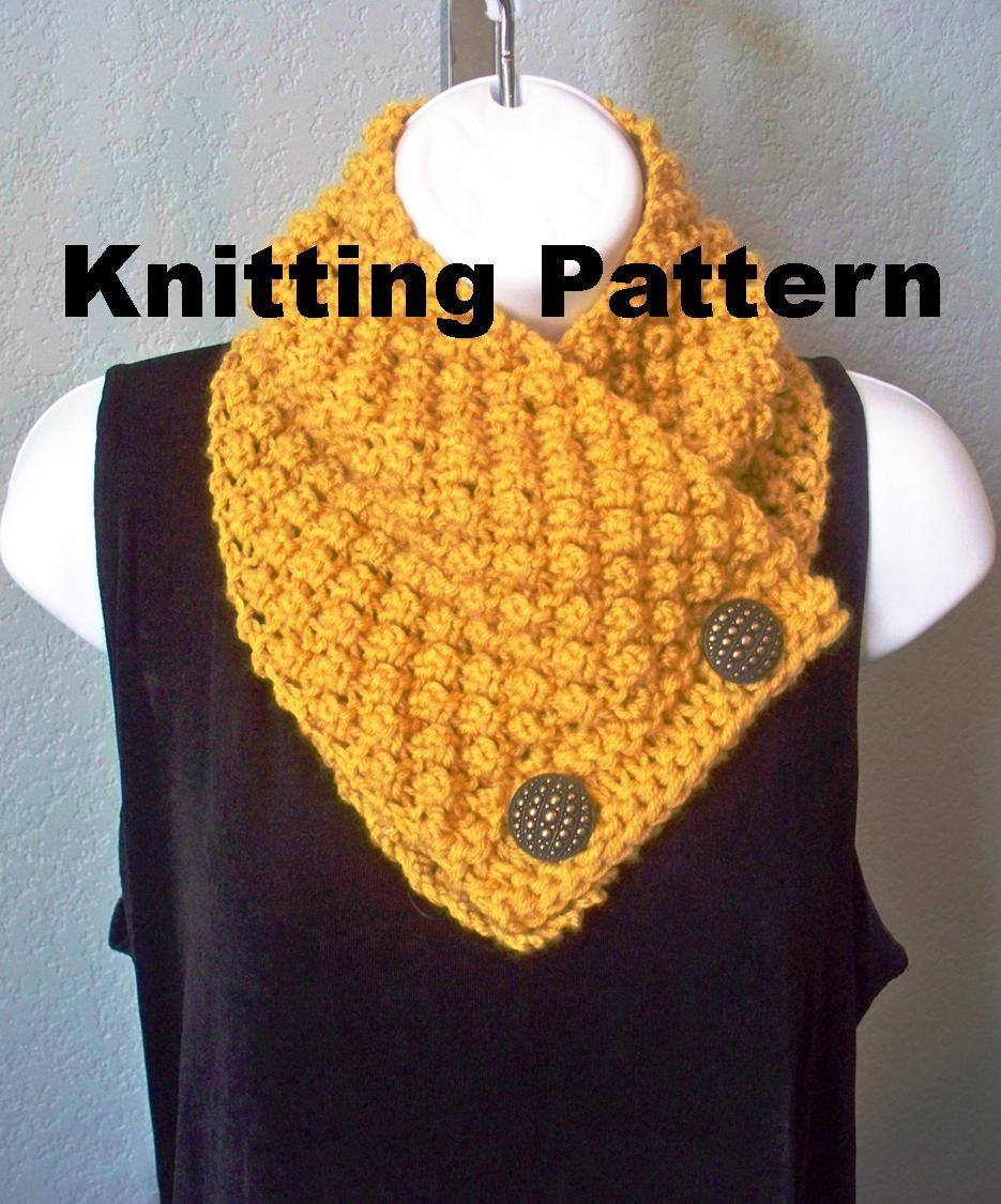 button scarf knit pattern for beginners -   Sew, knit, Croche ...