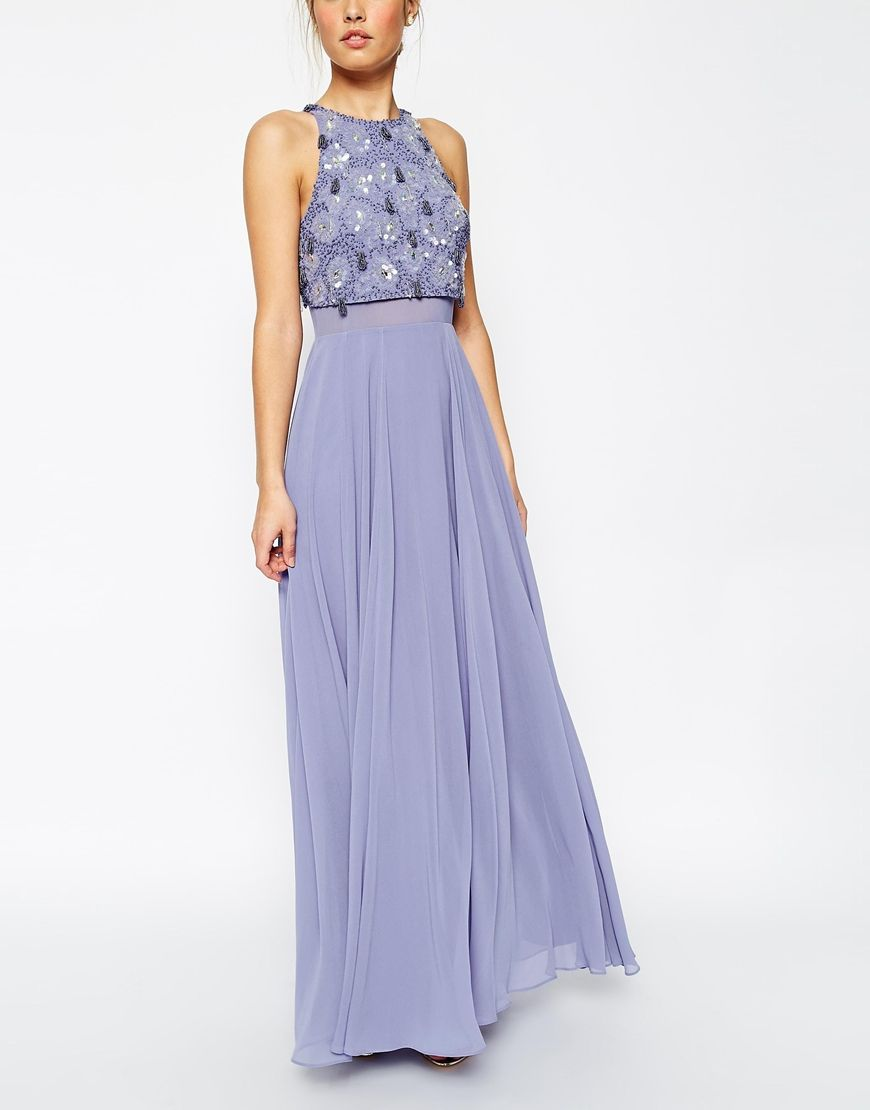 Image 3 of ASOS Crop Top Maxi Dress With Crystal Droplets | debs ...