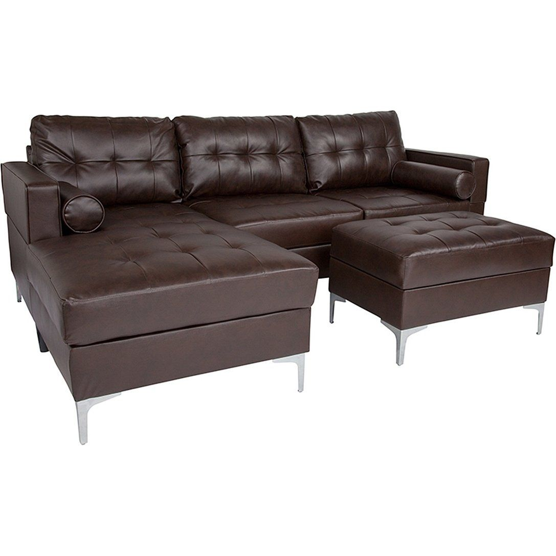 Bellmore 3-Piece Brown Leather Sectional Sofa With Left