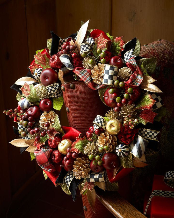 MacKenzie-Childs Small Gala Christmas Wreath | indoors or ...