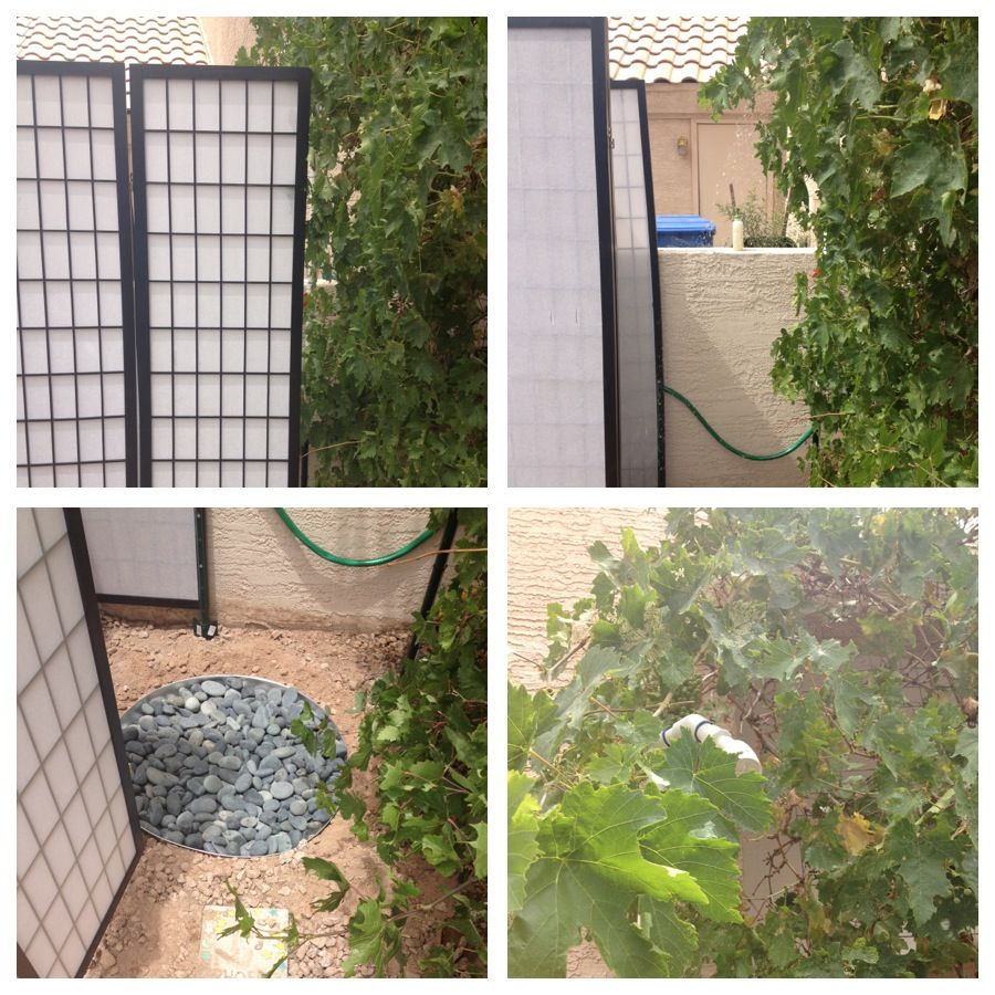 home made outdoor shower made with old privacy screen pvc pipe