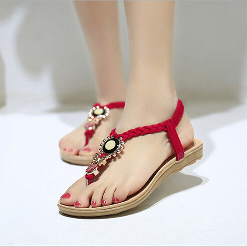 77bd3786c9560 Find More Women s Sandals Information about 2015 New Summer Women s Wedge  Sandals Rome Style Flip Flops Beaded Flats Sandal Casual Women Shoes 3  color Size ...