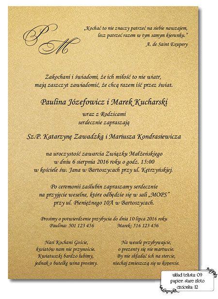 Zaproszenia ślubne Teksty Rzeczy Do Kupienia