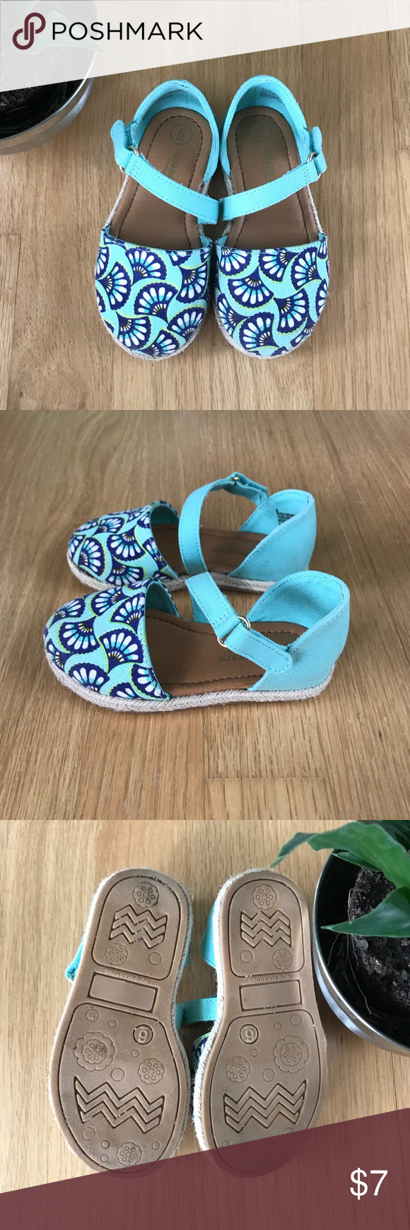 "d97e7431fd06d1 Genuine Kids Canvas Espadrilles Sz. 6 Super cute shoes! Genuine Kids from  OshKosh ""Keyla"" sandals. Fun blue green floral fan print. Excellent  condition."