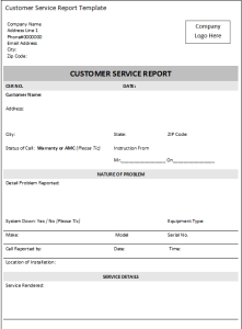 Download Free Excel Customer Service Report Template  Ms Office
