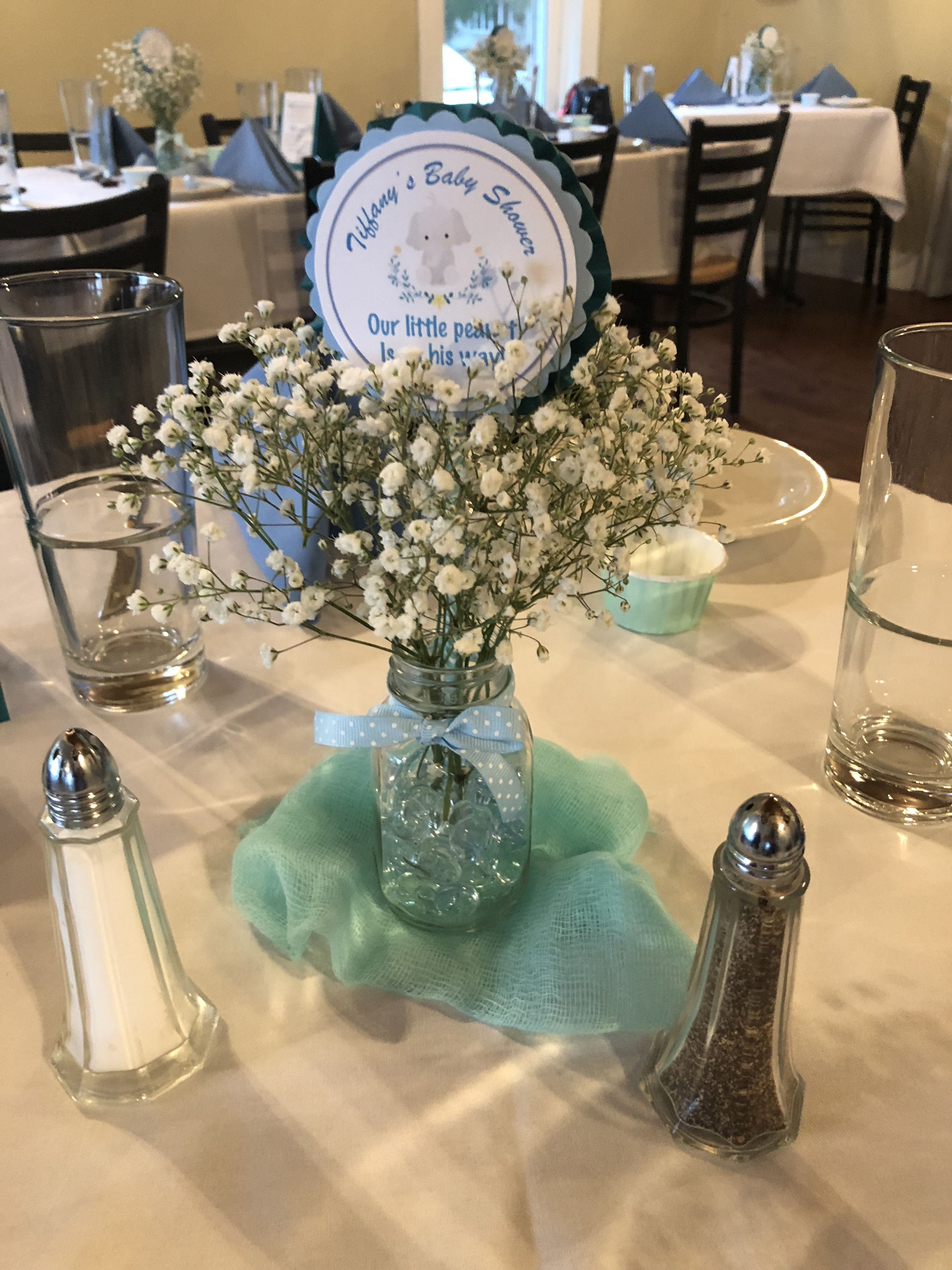 Baby Shower Centerpiece Using Vintage Glass Baby Bottle, Babies Breath