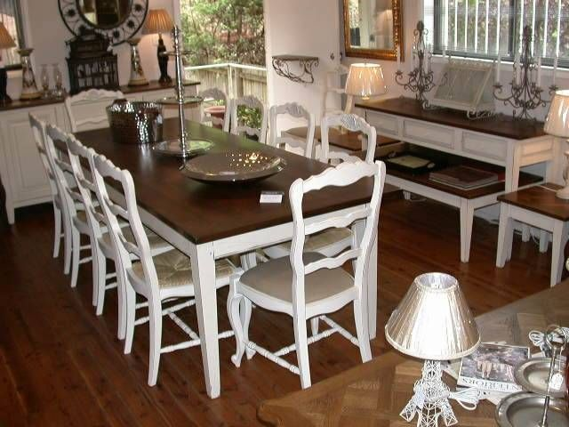 White Painted Table With Wood Finish Top Shabby Chic Esque For