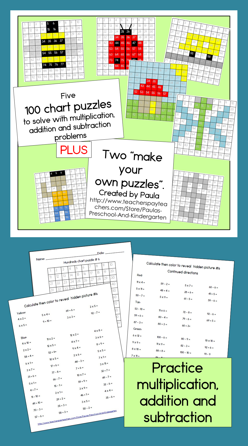 Hundreds chart mystery pictures with addition subtraction hundreds chart mystery pictures with addition subtraction multiplication nvjuhfo Gallery