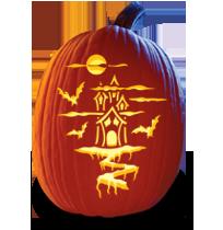 pumpkin template house  pumpkin carving pattern haunted house | Pumpkin carving ...