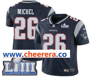 Men s New England Patriots  26 Sony Michel Navy Blue 2019 Super Bowl LIII  Patch Vapor Untouchable Stitched NFL Nike Limited Jersey e06d8c457