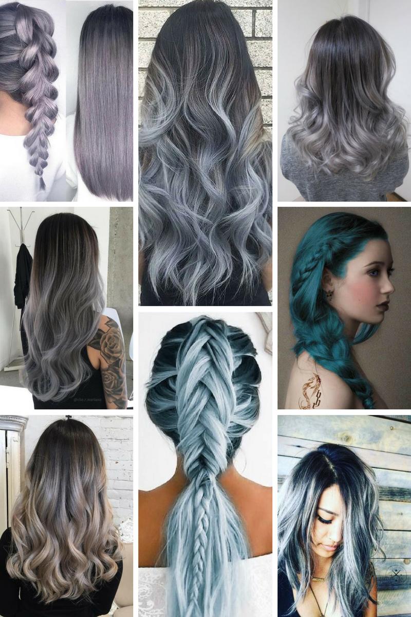envie folle des cheveux bleu gris your pinterest likes cheveux teinture cheveux gris. Black Bedroom Furniture Sets. Home Design Ideas