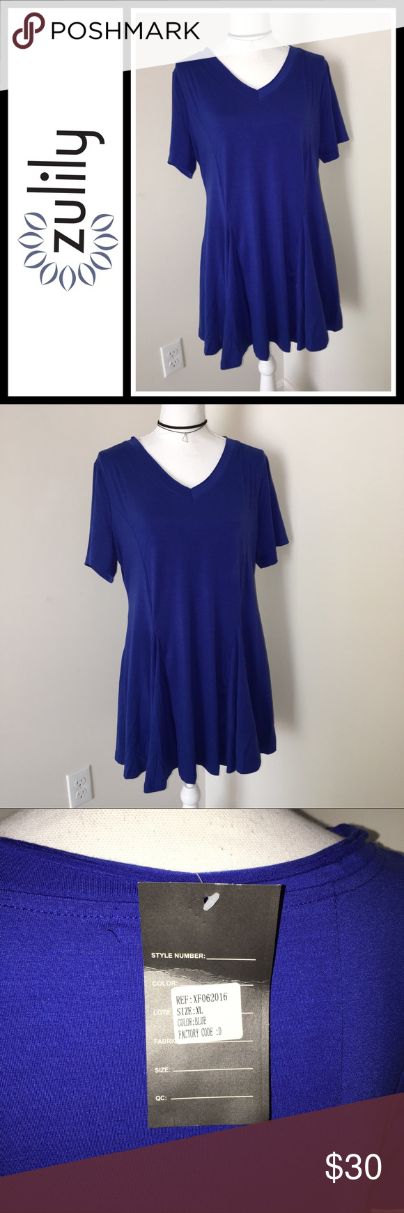 Zulily Reborn Blue Short sleeve peplum tunic New with tags