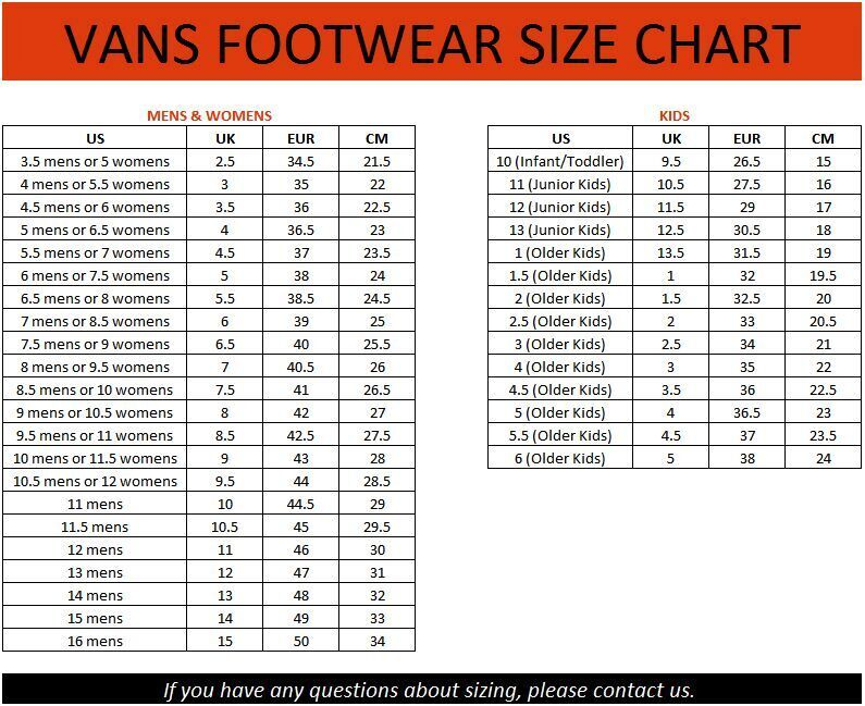vans kid shoe size chart