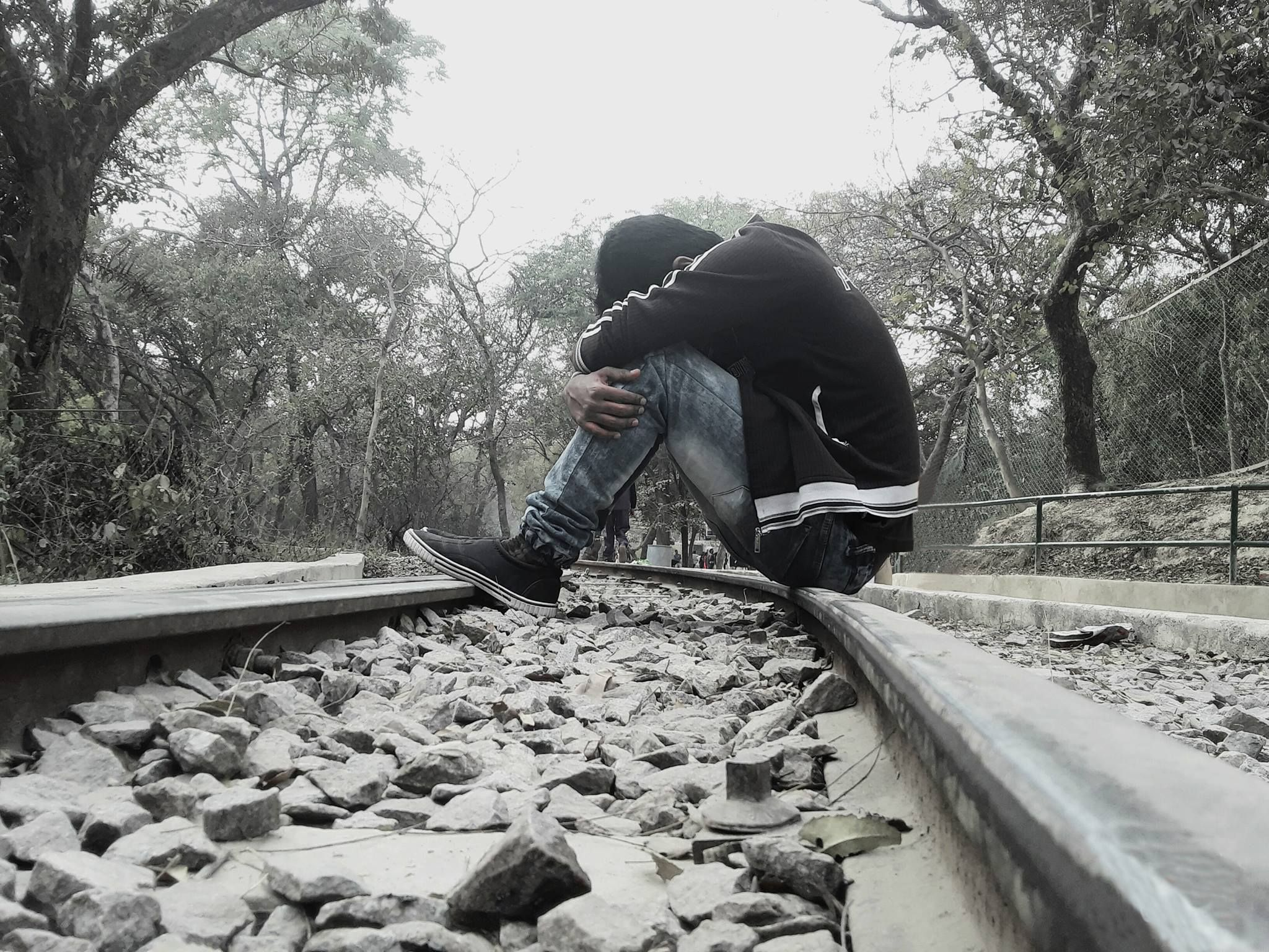 Sad Boy Sitting Alone Train Track Alone Photography Alone
