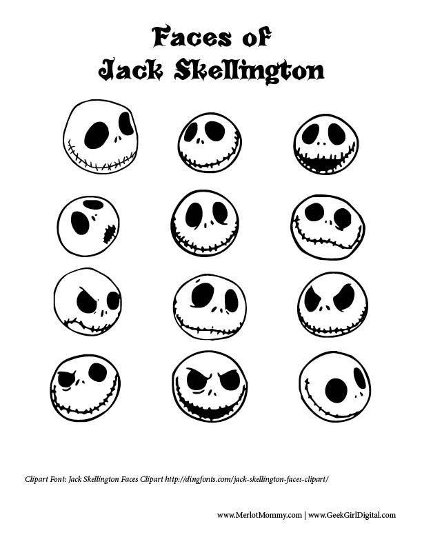 Excelente Jack Skellington Para Colorear Patrón - Páginas Para ...