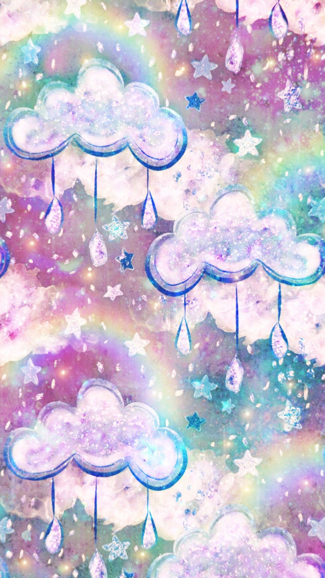 Galaxy Rainbow Clouds Made By Me Colors Colorful Glitter