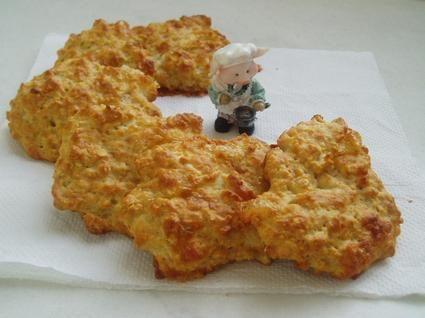 Cookies au fromage de chèvre  Ingrédients / pour 4 personnes 120 g de farine 1 yaourt nature 100 g de flocons d'avoine 1 oeufs 1 sachet de levure chimique sel, poivre 1/2 bûche de fromage de chèvre 1 pincée de noix de muscade  15 min (temp. moyenne)