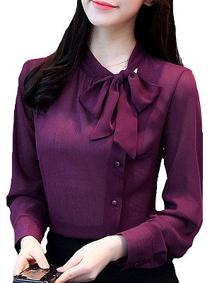 Photo of Autumn Spring  Polyester  Women  Tie Collar  Single Breasted  Plain  Long Sleeve Blouses