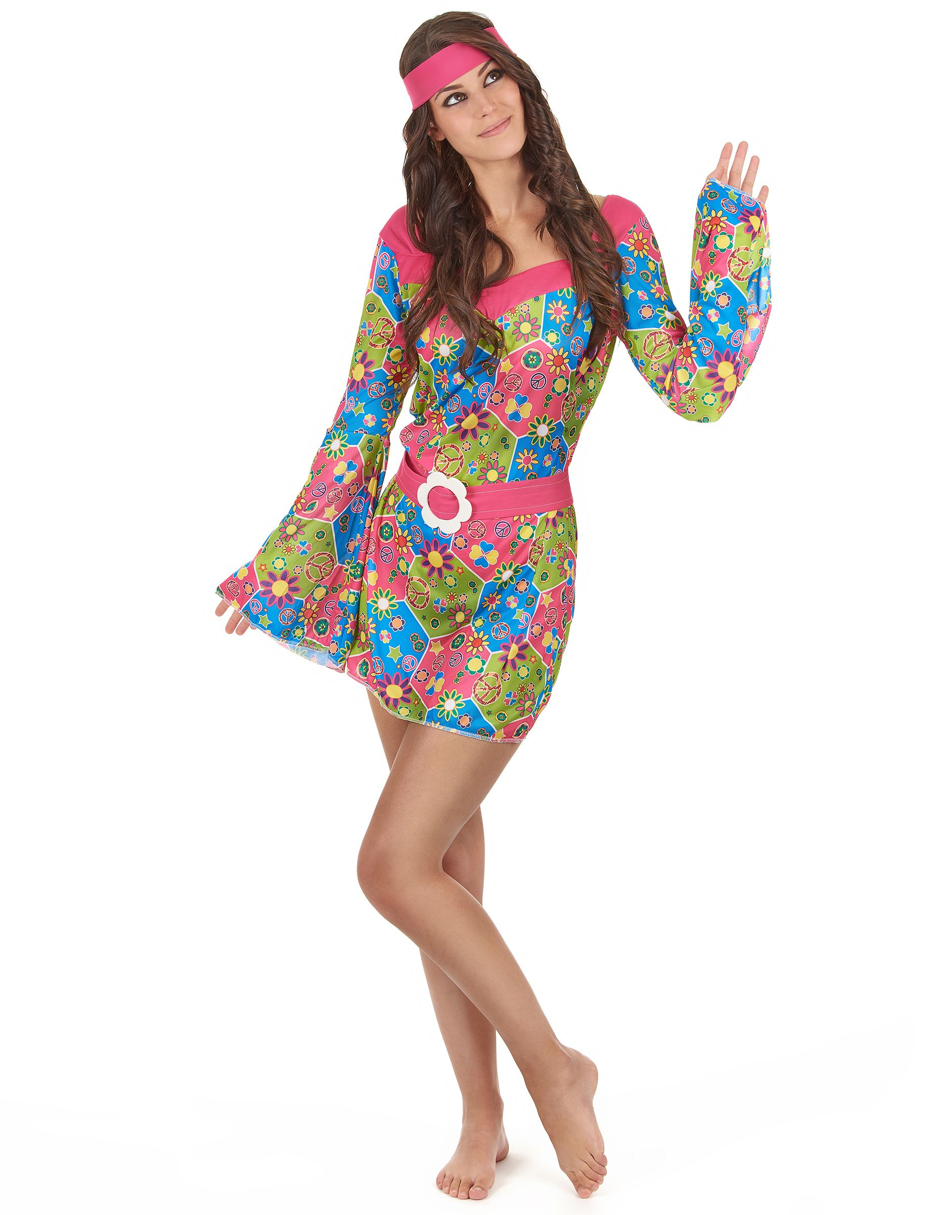 d00af19f1cd1e Hippie-Damenkostüm Flower-Power-Kleid bunt