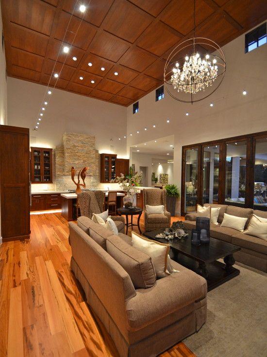 chandelier for island | High ceiling living room, Living ...