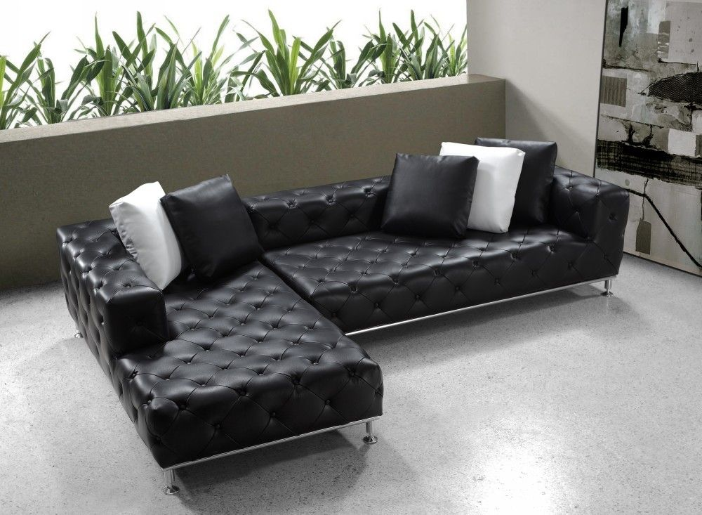 Jazz Modern Black Tufted Leather Sectional Sofa Modern Sofa