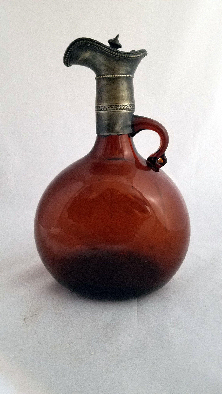 Antique Claret Victorian Amber Hand Blown Flagon Etsy In 2020 Hand Blown Glass Hand Blown Antique Wine Bottles