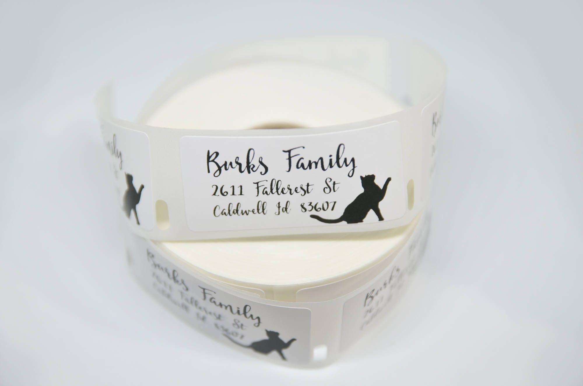 100 250 500 black cat return address labels 1 x 2 stickers bill