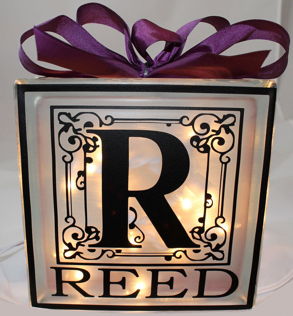 Decorative glass blocks crafts - Decorative Glass Block With Initial And Last Name By Tincyscorner 24 95