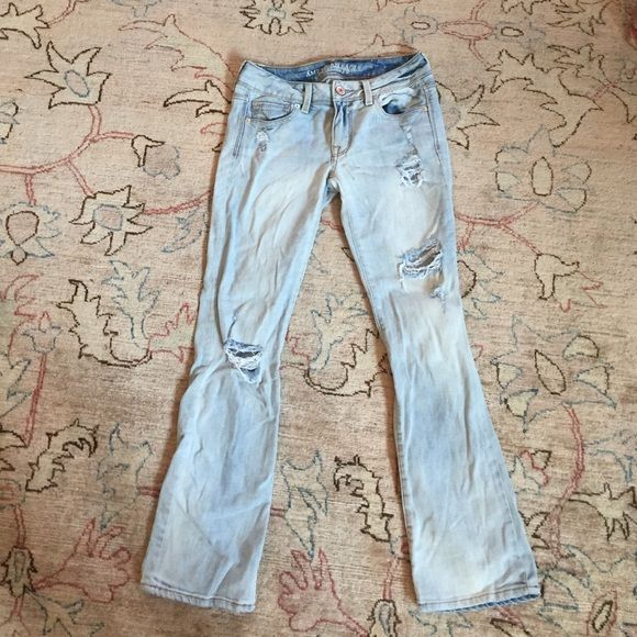 American eagle jeans! very light blue. worn once, great condition. just a little too big on me. size 4 and short American Eagle Outfitters Jeans Boot Cut