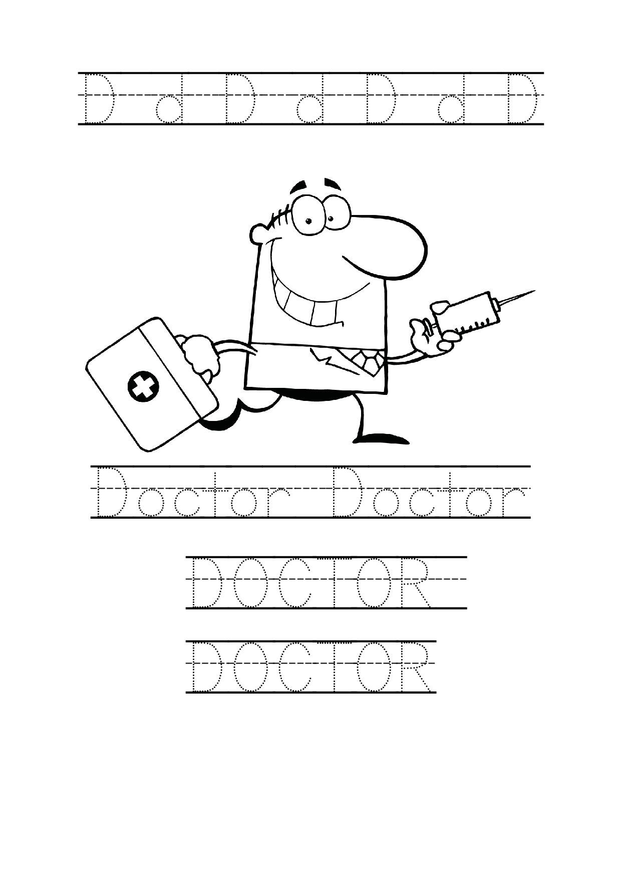 tracing word doctor worksheet coloring page for preschool | National ...
